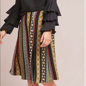 Anthropologie Scarf Printed A-Line Skirt, L Petite